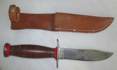 "Very Nice Schrade - Walden ""bowie Hunter"" Fixed Blade Knife In Scabbard"
