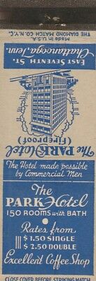 Vintage Hotel Matchbook Cover. The Park Hotel. Chattanooga, Tn.
