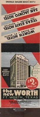 Vintage Hotel Matchbook Cover. The New Worth. Ft Worth, Tx.