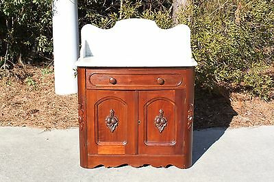Walnut Victorian Fruit & Nut Carved Marble Top Washstand ~ Ca.1860