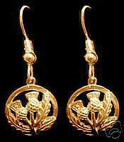 LOOK Gold Plated Celtic Thistle shamrock Earrings Jewelry