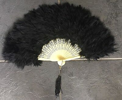 Vintage Art Deco back swansdown feather fan celluloid sticks