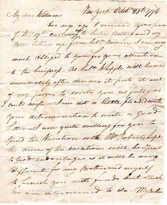 1797, New York,  Samuel Green, letter to his brother William, at Providence, R.I