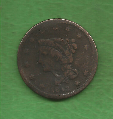 1842 Braided Hair, Large Cent, Small Date - 175 Years Old!!!