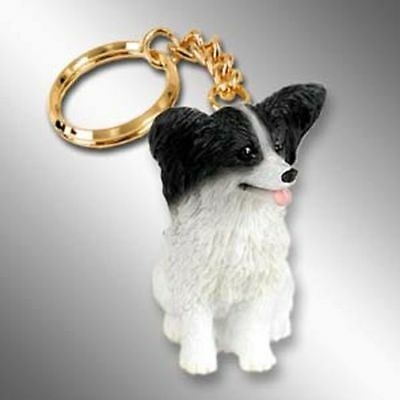 Papillon Black and White Dog Tiny One Resin Keychain Key Chain Ring