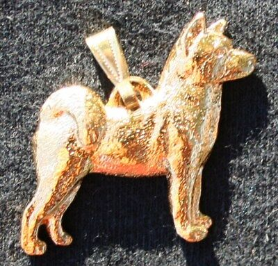 AKITA Dog 24K Gold Plated Pewter Pendant Jewelry USA Made