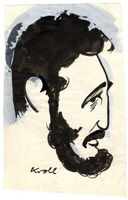 Julius Kroll, caricature signed of Fidel Castro, early 1960's pose