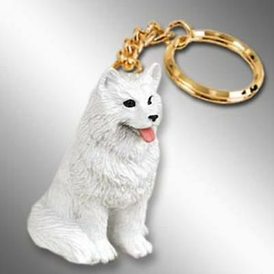 Samoyed Dog Tiny One Resin Keychain Key Chain Ring