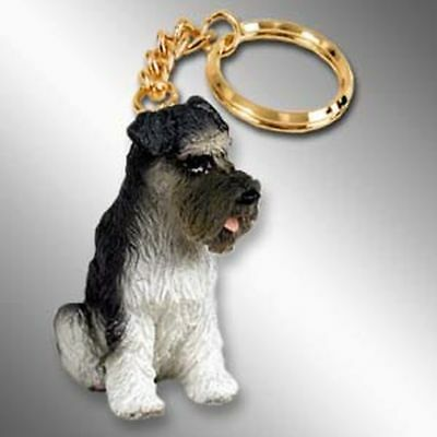 Schnauzer Gray Uncropped Ears Dog Tiny One Resin Keychain Key Chain Ring