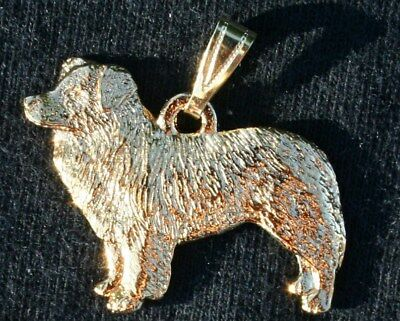 BORDER COLLIE Dog 24K Gold Plated Pewter Pendant Jewelry USA Made