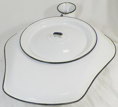 Vintage Enamel Ware White Bed Pan Chamber Pot With Original Lid