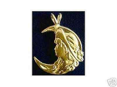 LOOK 2110 Celtic Moon Goddess Maiden Charm Gold Plated