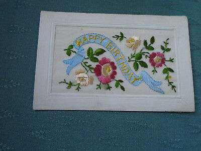 Ww1 Vintage Silk Postcard Happy Birthday + Flowers