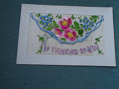 Ww1 Vintage Silk Postcard I'm Thinking Of You - Flowers + Insert Card Dear Wife
