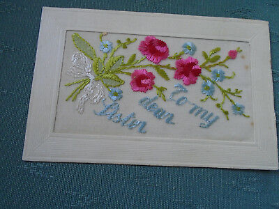 Ww1 Vintage Silk Postcard - To My Dear Sister + Flowers