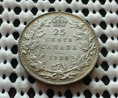 1929 ❀ King George V ❀ 25 Cent Canada Silver Quarter Dollar Coin