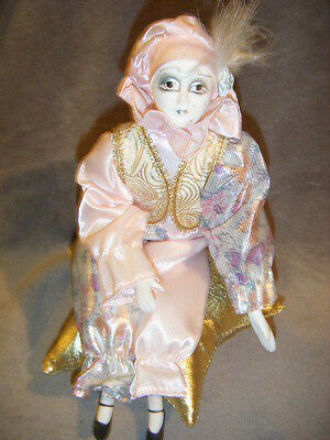 "PINK & GOLD METALIC JESTER CLOWN MUSIC Box  ""SEND IN THE CLOWNS"" musical"