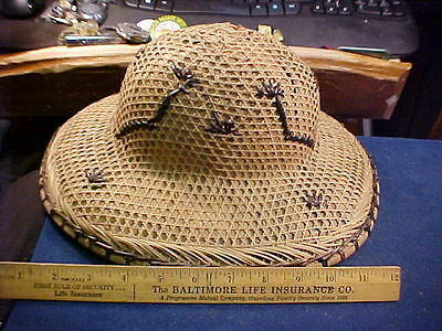 vintage bamboo & rattan cane pith hat Asian 1940's-1950's
