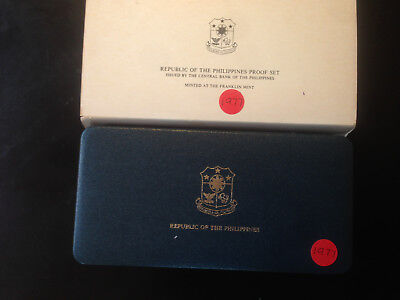 Philippines; 1977 PROOF SET - 8 Coins with Box & COA