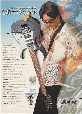 Steve Vai Ultra Zone Signature Ibanez JEM7DBK guitar ad 8 x 11 advertisement