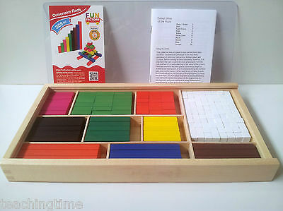 Wooden cuisenaire rods visual aid for maths instructions available on request