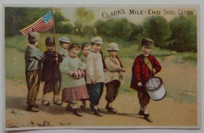 1800's Victorian Trade Card Patriotic Young Marchers US Flag Clarks Spool Cotton