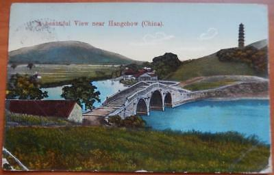 Antique Postcard Beautiful View Hangchow China Early 1900's Canceled Stamp 30