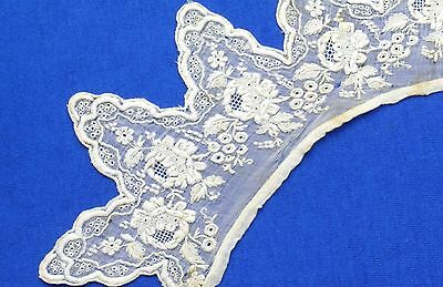 Antique  French White Embroidery Lace Collar