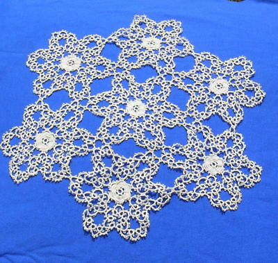 """Antique Tatted Tatting Lace Doily 13"""""""