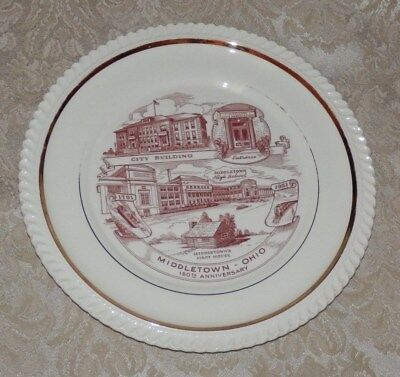 "Vintage 1951 MIDDLETOWN OHIO 10"" Souvenir PLATE 160th Anniversary"