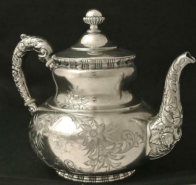 Simpson Hall & Miller Silver Plate Roses Floral Coffee Pot Tea Pot