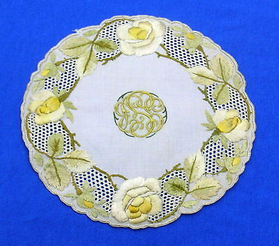Antique Silk Society Embroidery Embroidered  Lace Doily
