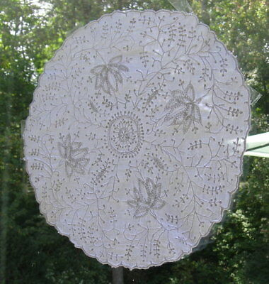 Unusual Antique Knotted Embroidered Lace Doily