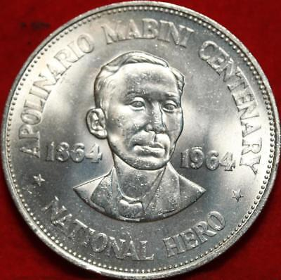 Uncirculated 1964 Philippines 1 Peso Silver Foreign Coin Free S/H