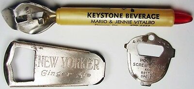 3 Glass Bottle OPENERS for BEER or Soda Pop 1950's or Earlier, ALL Different