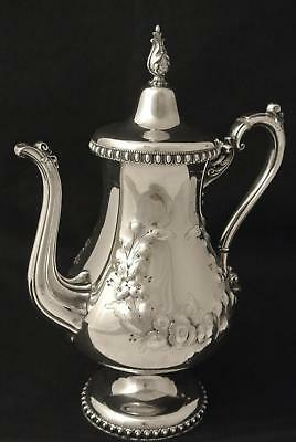 Victorian Rogers & Smith Civil War Era Coffee Pot Tea  Pot Repousse  Chased