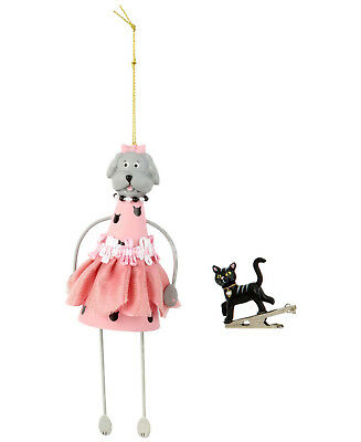 Betsey Johnson  Gifting Dog And Cat Ornament Pink