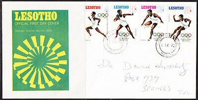 Lesotho 1972 Munich Olympics  First Day Cover  - addressed