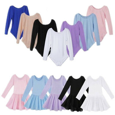 Toddler Girls Kid Leotard Ballet Gymnastics Tutu Dance Dress Long Sleeve Costume