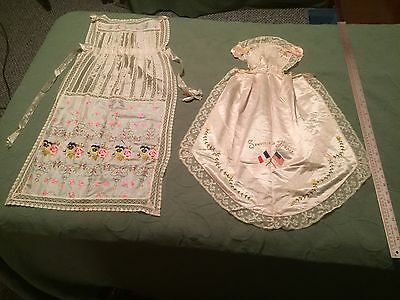 Two World War I Silk Aprons, Sent From France to Decatur, Illinois