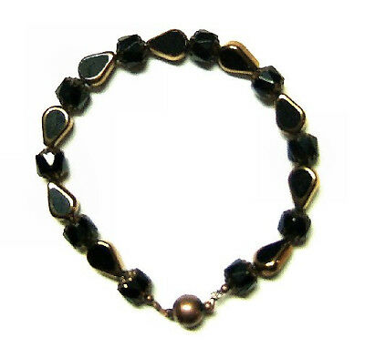 Black Copper Tear Drops And Cathedral Beads Magnetic Closure Bracelet Halloween