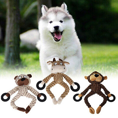 Pet Puppy Cat Chew Squeaker Squeaky Plush Sound Animal Shaped Dog Fun Play Toys