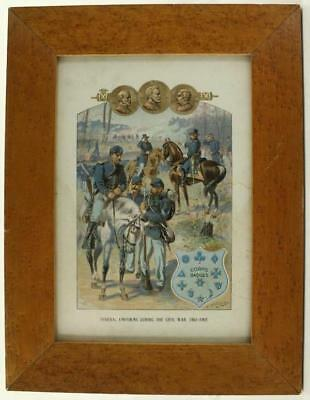 Vintage Art Print Book Plate Framed CIVIL WAR HA Ogden FEDERAL UNIFORMS 1861-65