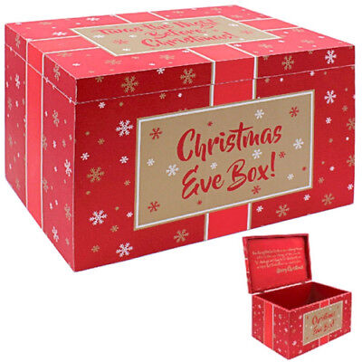 30Cm Wooden Christmas Eve Gift Box Xmas Red Large Present Favour Party Chest New