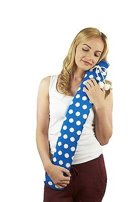 Extra Long PVC Hot Water Bottle Blue & White Polka Dot Knitted Cover Xmas Gift