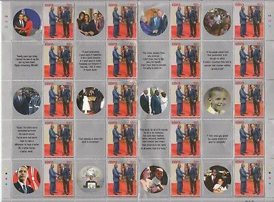2017 Kenya OBAMA Visit to Kenya NEW ISSUE Sept. 22 M/S of 20 MNH Check out TABS!