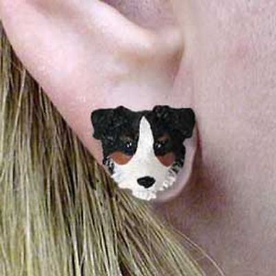 Australian Shepherd Tricolor Tiny One Dog Head Post Earrings Jewelry