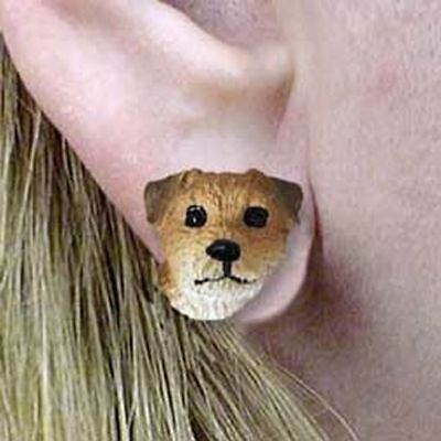 Border Terrier Tiny One Dog Head Post Earrings Jewelry