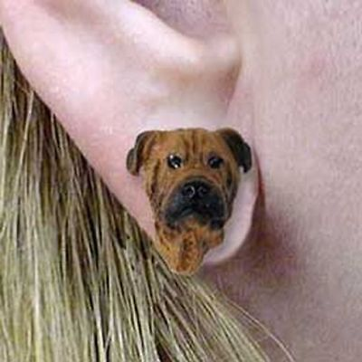 Bullmastiff Tiny One Dog Head Post Earrings Jewelry