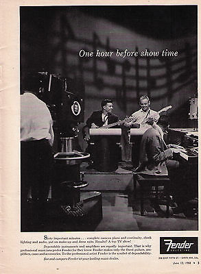 """1958 Fender """"One Hour Before Show Time"""" Vintage Print Advertisement"""